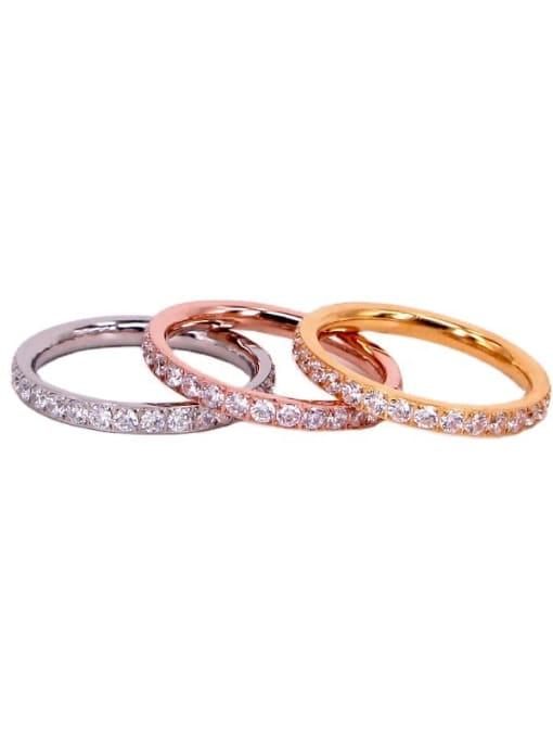 K.Love Titanium Steel Cubic Zirconia Round Minimalist Band Ring