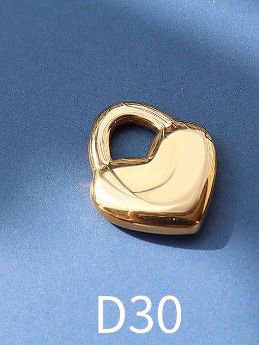 D30 golden peach heart lock Titanium Steel Cute  Lock Heart Pendant