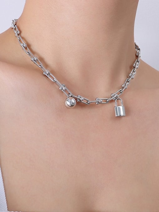 P072 Steel Necklace 40 5cm Titanium Steel Vintage Irregular Bangle and Necklace Set