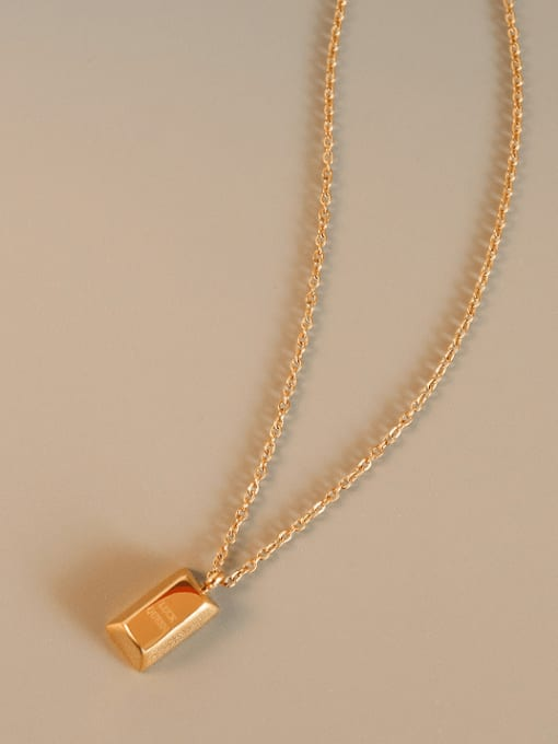 Gold  40+5cm Titanium Steel Geometric Minimalist Letter Pendnt  Necklace