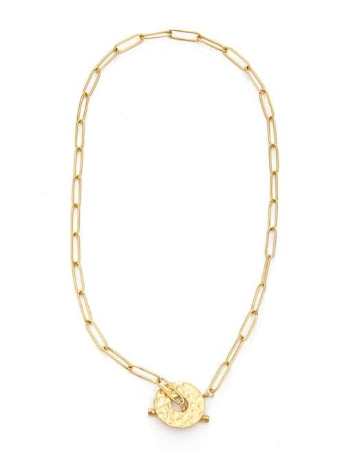 YAYACH Hollow round buckle design sense titanium steel necklace 0