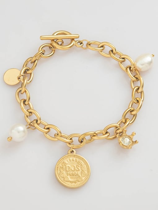 YAYACH Stainless steel Imitation Pearl Coin Trend Link Bracelet