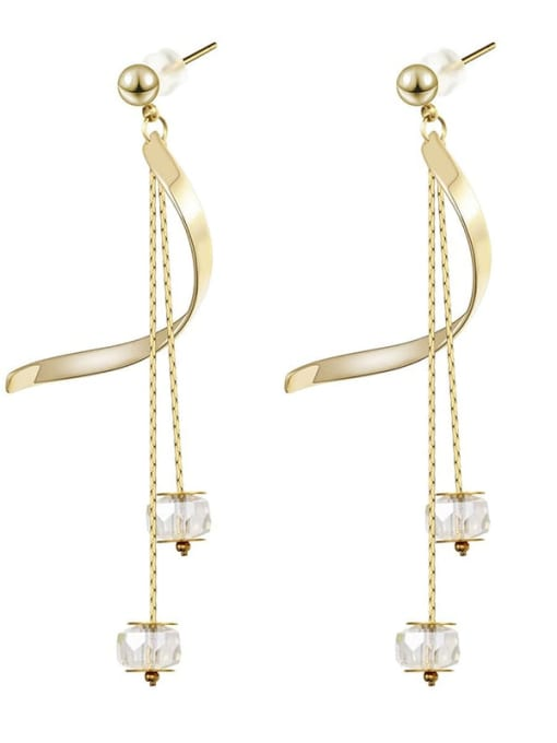 gold Long crystal thin temperament Tassel Earrings