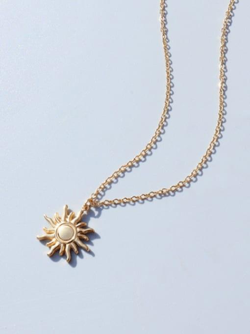 Gold necklace 40+5cm Titanium Steel Irregular Minimalist Sun Pendant Necklace