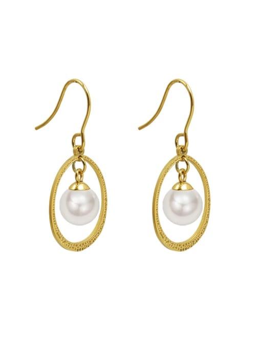 MAKA Titanium Steel Imitation Pearl Oval Vintage Hook Earring