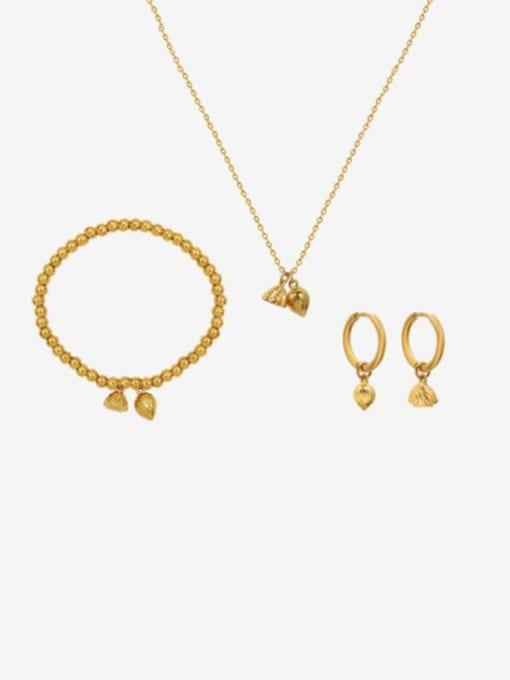 MAKA Titanium Steel Vintage Flower  Bangle Earring and Necklace Set 0