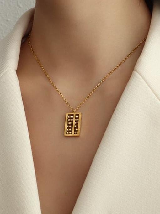 MAKA Titanium Steel Bead Geometric Vintage Necklace 1