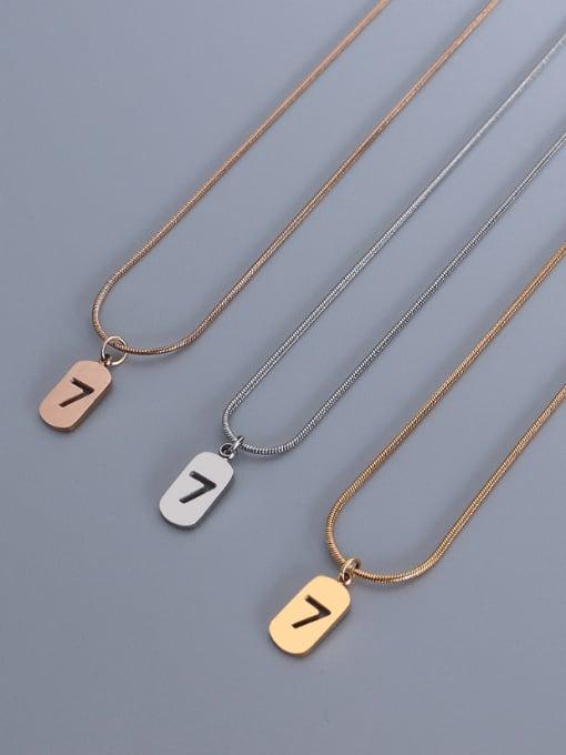 MAKA Titanium Steel Minimalist  Hollow Number 7 Necklace 2