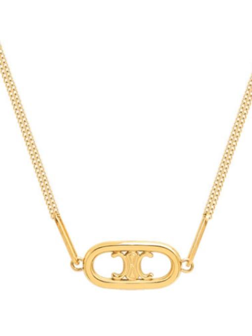 MAKA Titanium Steel Minimalist Hollow Geometric Pendant Necklace 0
