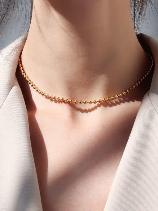 Gold short Titanium Steel Geometric Vintage Multi Strand Necklace