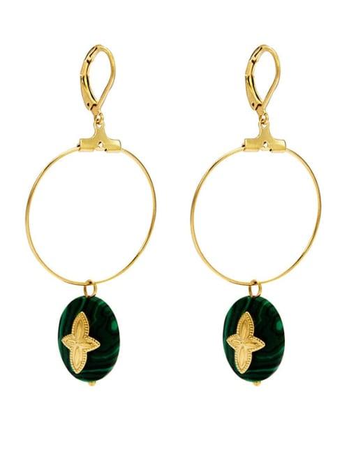 Green Malachite new style temperament versatile large earrings titanium steel earrings