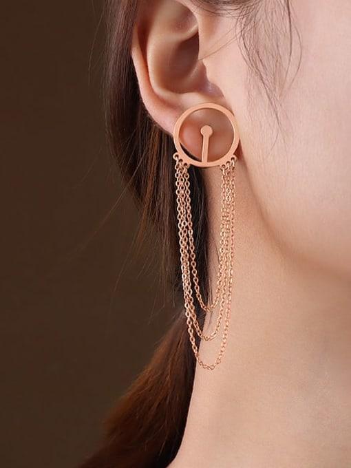 F111 rose gold tassel Titanium 316L Stainless Steel Geometric Tassel Minimalist Threader Earring with e-coated waterproof