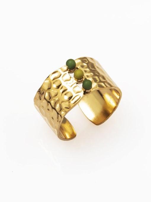 Green European and American retro opening inlaid gem titanium steel ring