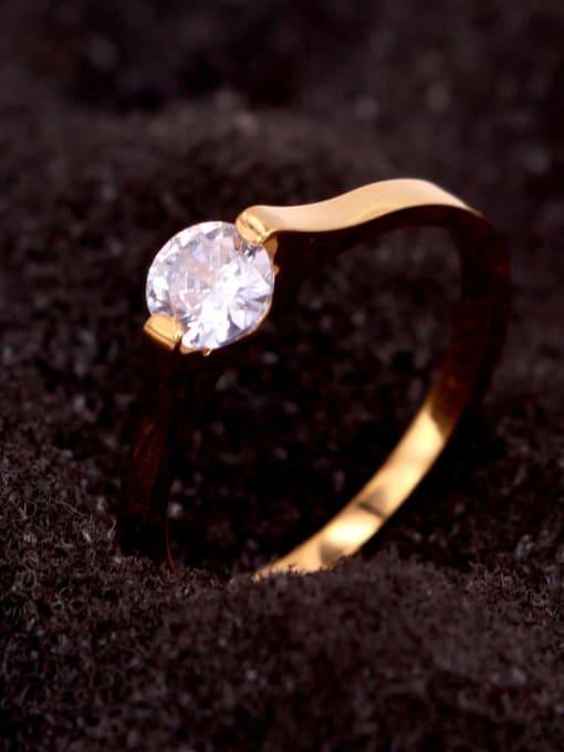 K.Love Titanium Steel Rhinestone Round Minimalist Band Ring 2