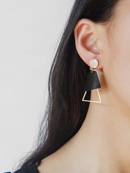YAYACH Fashion acrylic exquisite titanium steel earrings plated with real gold 1