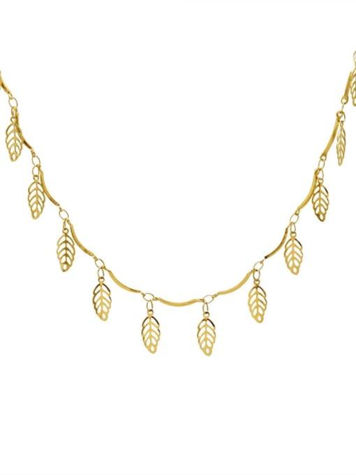 Gold Titanium Steel Leaf Vintage Necklace