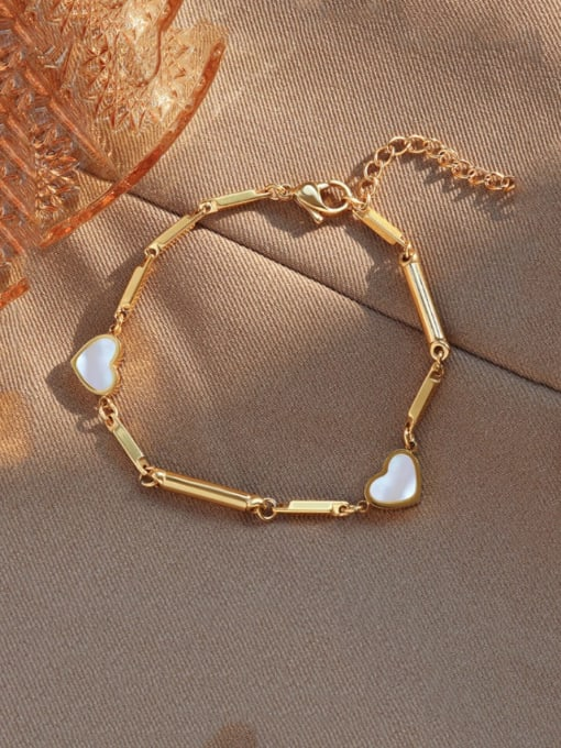 Gold bracelet 16+4cm Titanium Steel Shell Heart Vintage Bracelet