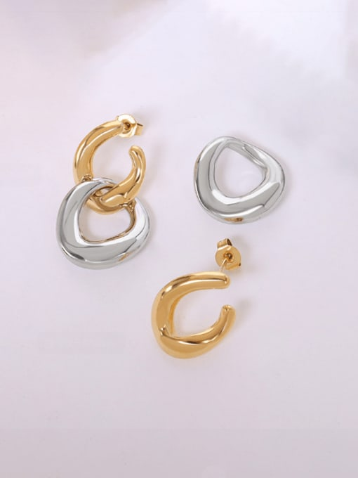F539 gold+steel Titanium Steel Geometric Minimalist Drop Earring