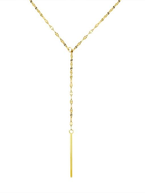 MAKA Titanium Steel Tassel Minimalist Lariat Necklace 2