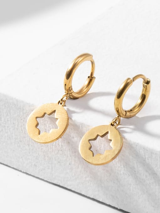 Gold Hollow plated 14K Gold hexapod titanium steel earrings