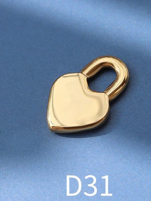 D31 golden peach heart lock Titanium Steel Cute  Lock Heart Pendant
