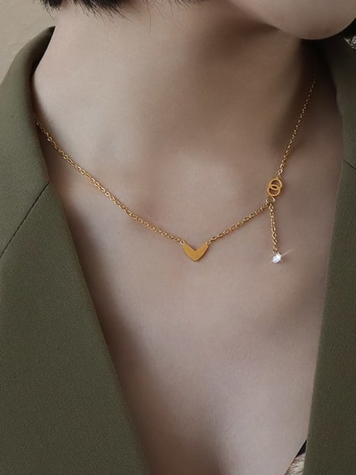 Gold peach heart Titanium 316L Stainless Steel Smooth Heart Minimalist Necklace with e-coated waterproof