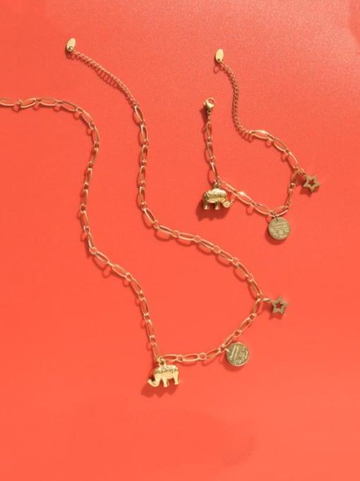 MAKA Titanium Steel Vintage Elephant  Braclete and Necklace Set 4