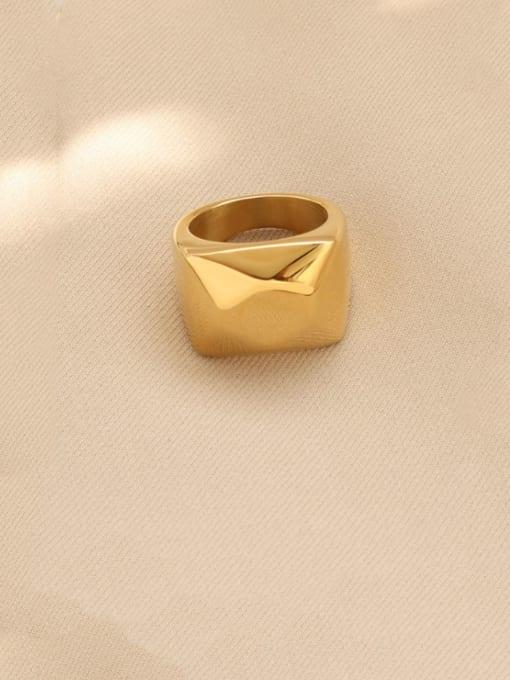 Gold Titanium Steel Smooth Geometric Artisan Band Ring