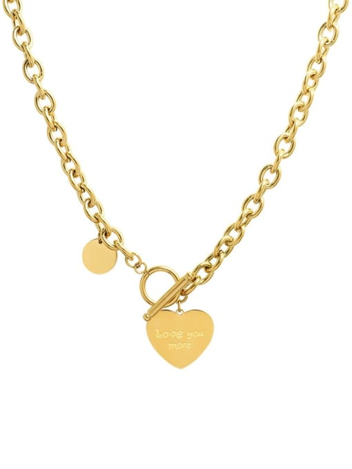 MAKA Titanium Steel Heart Vintage Hollow Chain Necklace 0