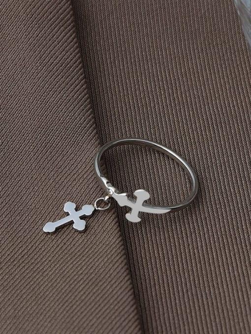 Steel Titanium Steel Cross Minimalist Band Ring