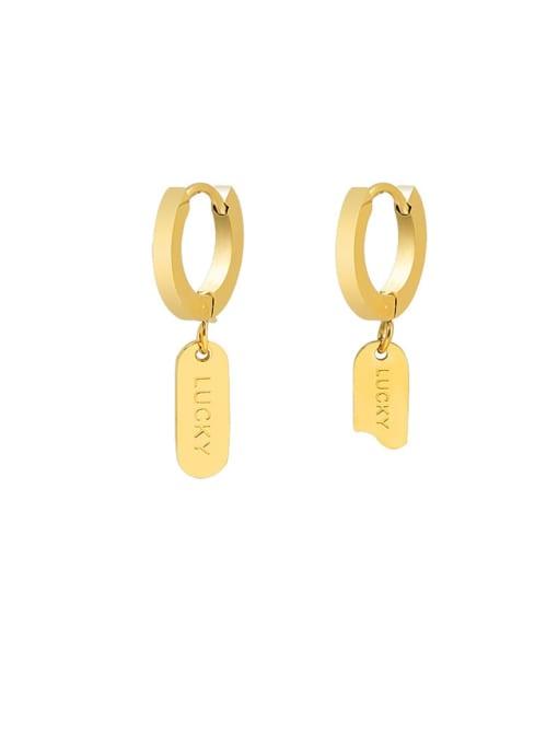MAKA Titanium Steel Asymmetry Geometric Minimalist Huggie Earring 0