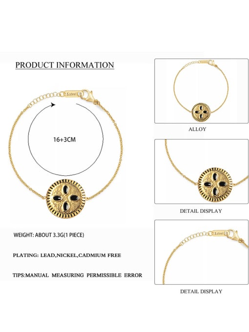 YAYACH Stainless steel Enamel Round Trend Link Bracelet 1