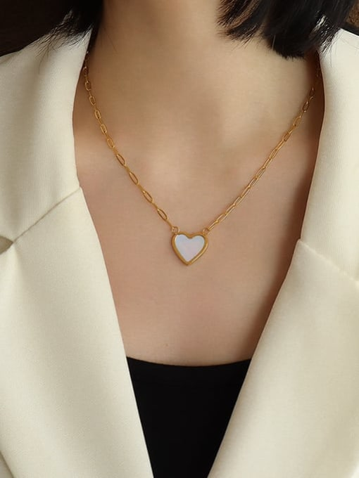 MAKA Titanium Steel Shell Heart Minimalist Necklace 1