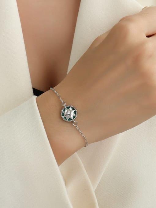 E259 steel color Bracelet 15+ 5cm Titanium Steel Enamel Hip Hop Round  Braclete and Necklace Set