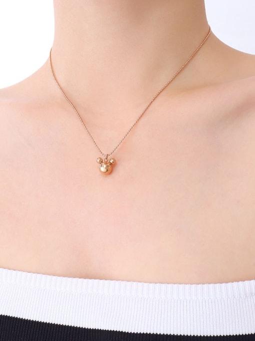 P458 rose Mickey Mouse Necklace 40 +5cm Titanium Steel Bead Geometric Minimalist Necklace