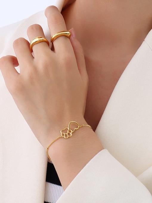 MAKA Titanium Steel Hollow Heart Minimalist Link Bracelet 1