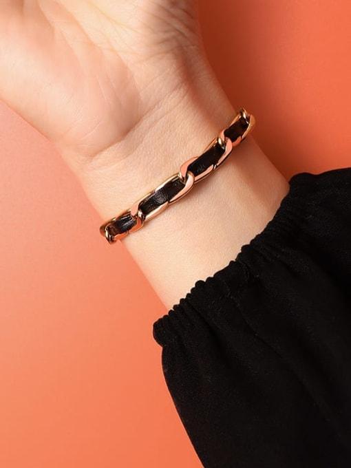 MAKA Titanium Steel Leather Geometric Vintage Link Bracelet 3