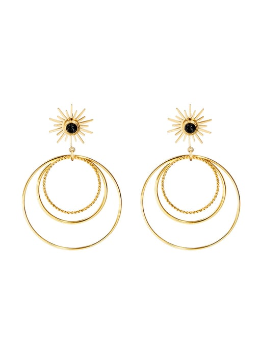 YAYACH French style natural stone simple multi circle exaggerated Earrings