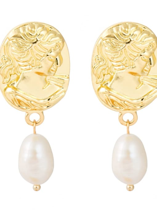 YAYACH Creative Korean Pearl Earrings European and American temperament dumb gold geometric female Earrings 4