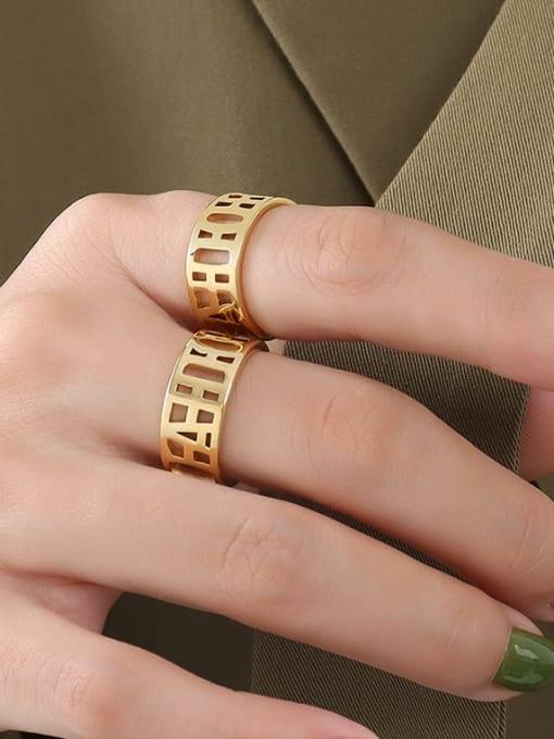 MAKA Titanium Steel Geometric Minimalist HollowLetter Band Ring 1