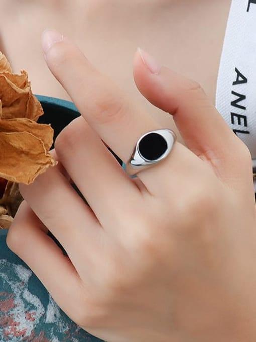 A254 steel ring Titanium Steel Enamel Geometric Vintage Band Ring