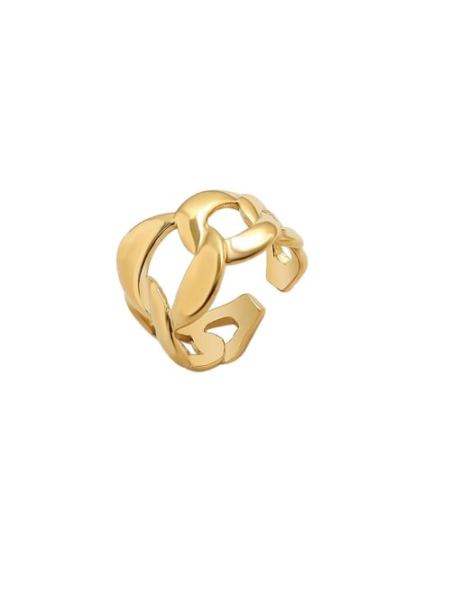 MAKA Titanium Steel  Hollow Geometric Minimalist Band Ring 1