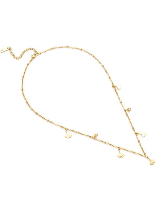 YAYACH Creative Ginkgo Leaf Shaped Titanium Steel Pendant Necklace 1