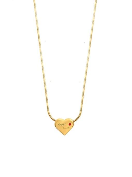 gold Titanium Steel Rhinestone Heart Minimalist Necklace