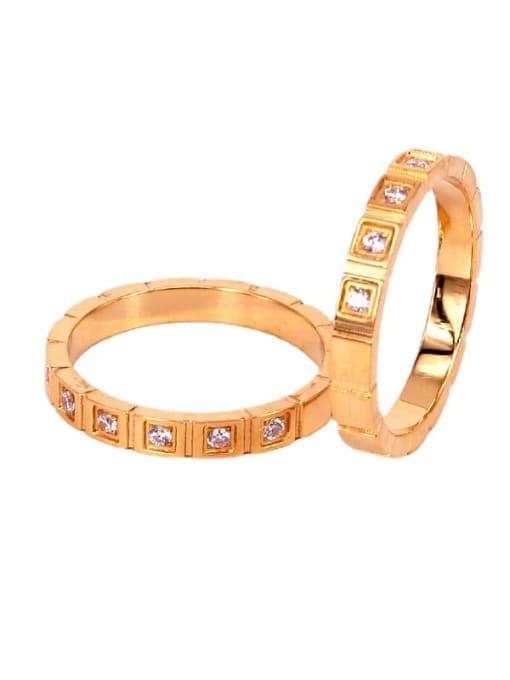 K.Love Stainless steel Rhinestone Geometric Minimalist Band Ring 1