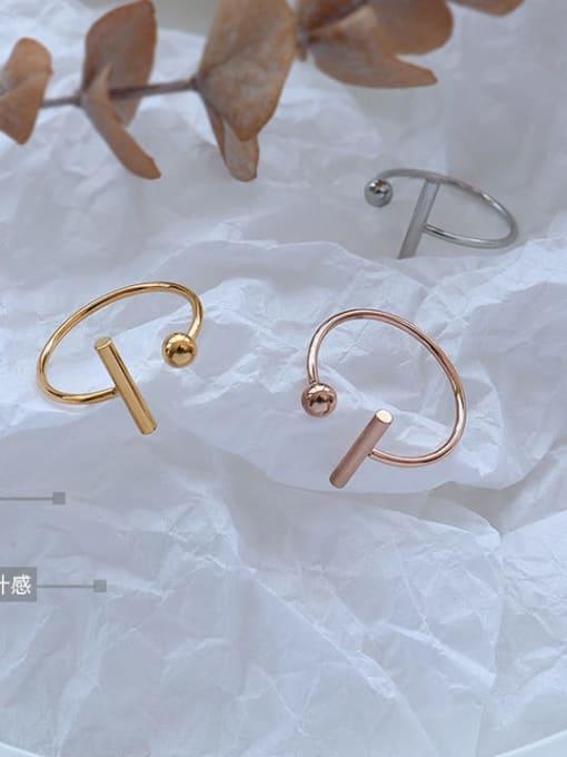 MAKA Titanium 316L Stainless Steel Geometric Minimalist Band Ring with e-coated waterproof 0