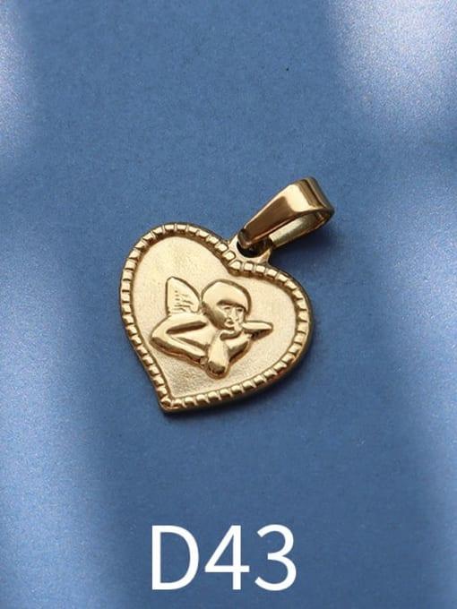 D43 gold Stainless steel Geometric  Vintage Pendant