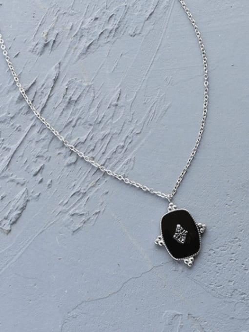 Steel necklace 40+5cm Titanium Steel Enamel Geometric Vintage Necklace
