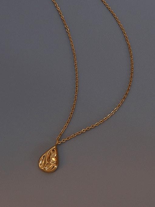 MAKA Titanium Steel Minimalist Irregular Water Drop  Necklace 2