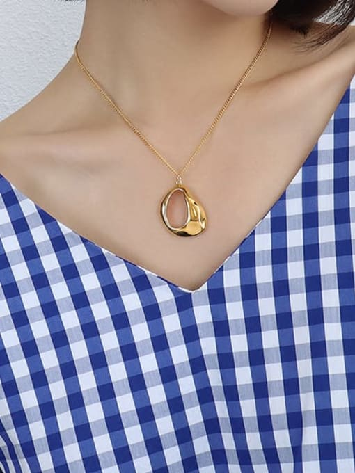 Gold irregular Pendant Necklace 40+5cm Titanium Steel Hollow Geometric Vintage Necklace